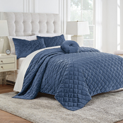 Modern Living Addison Velvet Reversible Quilt Set