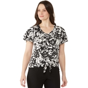 Passports Double Flutter Sleeve Tie Front Floral Top