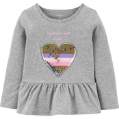 Carter's Toddler Girls Interactive Heart Peplum Top