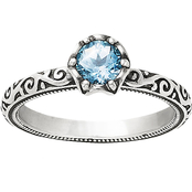 James Avery Sterling Silver Lab Created Aqua Spinel Cherished Birthstone Ring