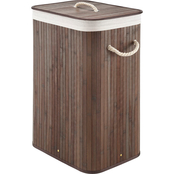 Whitmor Dark Rectangular Bamboo Hamper with Rope Handles