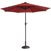 Pure Garden 9 ft. Solar Powered LED Lighted Patio Umbrella with Push Button Tilt