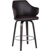 Armen Living Camden 30 in. Mid Century Faux Leather Bar Stool