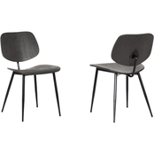 Armen Living Miki Black Wood Dining Accent Chair 2 pk