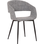 Armen Living Jocelyn Grey Dining Accent Chair with Black Metal Legs