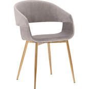 Armen Living Jocelyn Grey Dining Accent Chair with Gold Metal Legs