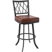 Armen Living Giselle Matte Black and Vintage Coffee Counter Stool