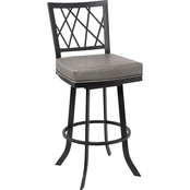 Armen Living Giselle Matte Black and Vintage Grey Counter Stool