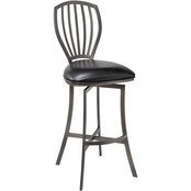 Armen Living Sandy Mineral Finish and Grey Barstool