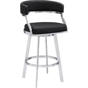 Armen Living Saturn Stainless Steel and Black Counter Stool