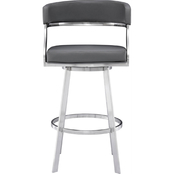 Armen Living Saturn Stainless Steel and Grey Barstool