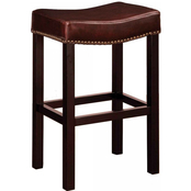 Armen Living Tudor Bonded Brown Leather Counter Stool with Nailhead Accents