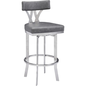 Armen Living Natalie Brushed Stainless Steel and Vintage Grey Counter Stool