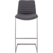 Armen Living Lucas Brushed Stainless Steel and Grey Counter Stool