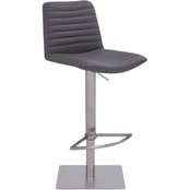 Armen Living Carson Stainless Steel and Grey Adjustable Barstool