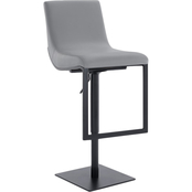 Armen Living Victory matte Black and Black Adjustable Swivel Barstool