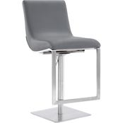 Armen Living Victory Brushed Stainless Steel and Grey Adjustable Swivel Barstool