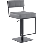 Armen Living Michele Matte Black and Grey Adjustable Barstool