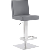 Armen Living Legacy Stainless Steel and Grey Adjustable Barstool