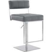 Armen Living Michele Brushed Stainless Steel and Grey Adjustable Barstool