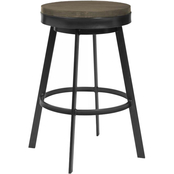 Armen Living Topeka Mineral Finish and Grey Walnut Wood Barstool