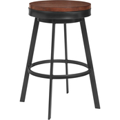 Armen Living Topeka Mineral Finish and Walnut Wood Counter Stool