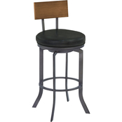 Armen Living Ojai Mineral Finish and Black Swivel Counter Stool