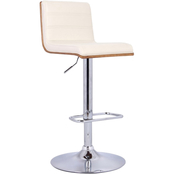 Armen Living Aubrey Chrome and Cream Adjustable Barstool