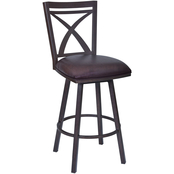 Armen Living Nova Auburn Bay and Brown Swivel Counter Stool