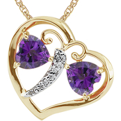 18K Yellow Gold Over Sterling Silver Amethyst Diamond Accent Heart Pendant