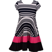 Bonnie Jean Little Girls Pleated Stripe Skater Dress