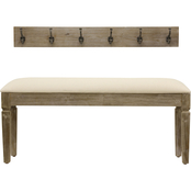 Decor Therapy Waverly Wood Bench with Coat Rack Set