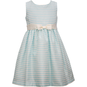Bonnie Jean Little Girls Aqua Striped Shantung Dress