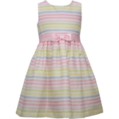 Bonnie Jean Little Girls Striped Shantung Dress