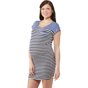 Planet Motherhood Maternity Stripe/Solid Colorblock Bodycon Dress