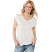 Passports Button Shoulder V-Neck Knit Top