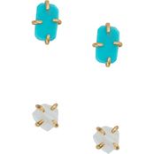 Lucky Brand Turquoise and White Geometric Stud Earrings Set