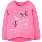 Oshkosh B'gosh Toddler Girls Sequin Butterfly Fleece Pullover