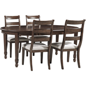 Signature Design by Ashley Adinton 5 pc. Set: Oval Table with 4 Ladderback Chairs