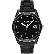 COACH Women's Preston Crystal Accent Black Ceramic Watch with Black Dial