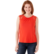 JW Scoop Neck Lace Shoulder Top