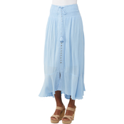 JW Button Front Long Skirt with Tassel