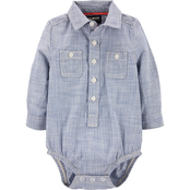 OshKosh B'gosh Infant Boys Hickory Striped Button Front Bodysuit