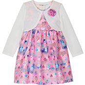 Purple Rose Girls Butterfly Pattern Dress with Shrug