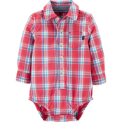 Oshkosh B'gosh Infant Boys Plaid Button Front Bodysuit