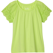 Pony Tails Girls Jersey Eyelet Top
