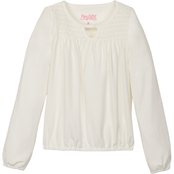 Pony Tails Little Girls Jersey Smocked Yoke Crew Neck Top