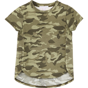 Pony Tails Little Girls Jersey Camo Print Lace Back Shoulder Top