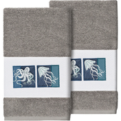 Linum Home Textiles 100% Turkish Cotton Ava Embellished Hand Towel 2 pc. Set