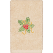 Linum Home Textiles Christmas Holly Bunch Embroidered Turkish Cotton Hand Towel